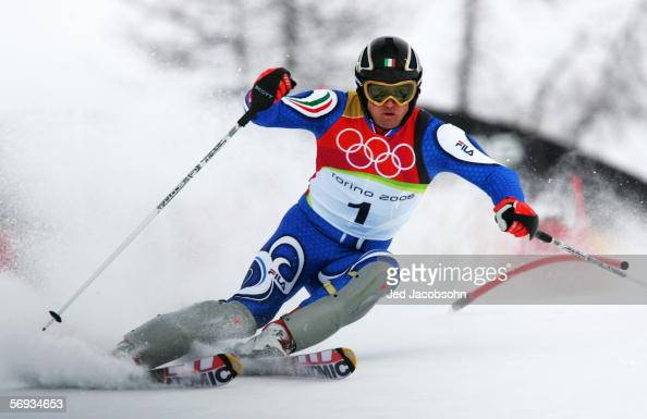 Giorgio Rocca of Italy competes before he failed to finish in the Final of the Mens Alpine Skiing Slalom on Day 15 of the 2006 Turin Winter Olympic...