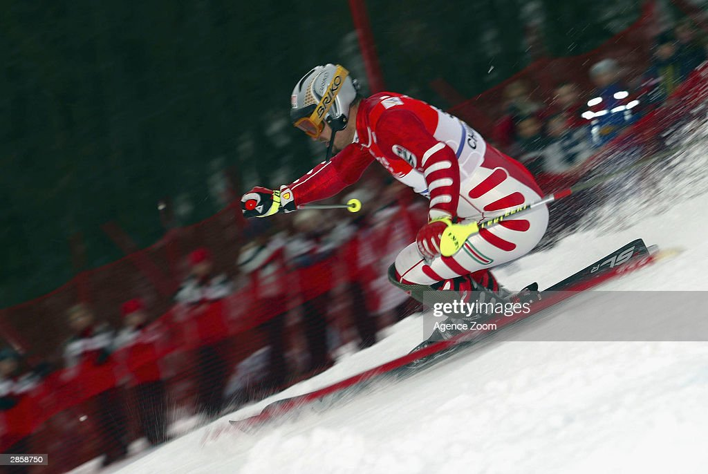 Giorgio Rocca of Italy on his way to first place during the Men's Slalom in the FIS Alpine Ski World Cup 2004 on January 11, 2003 in Chamonix, France.