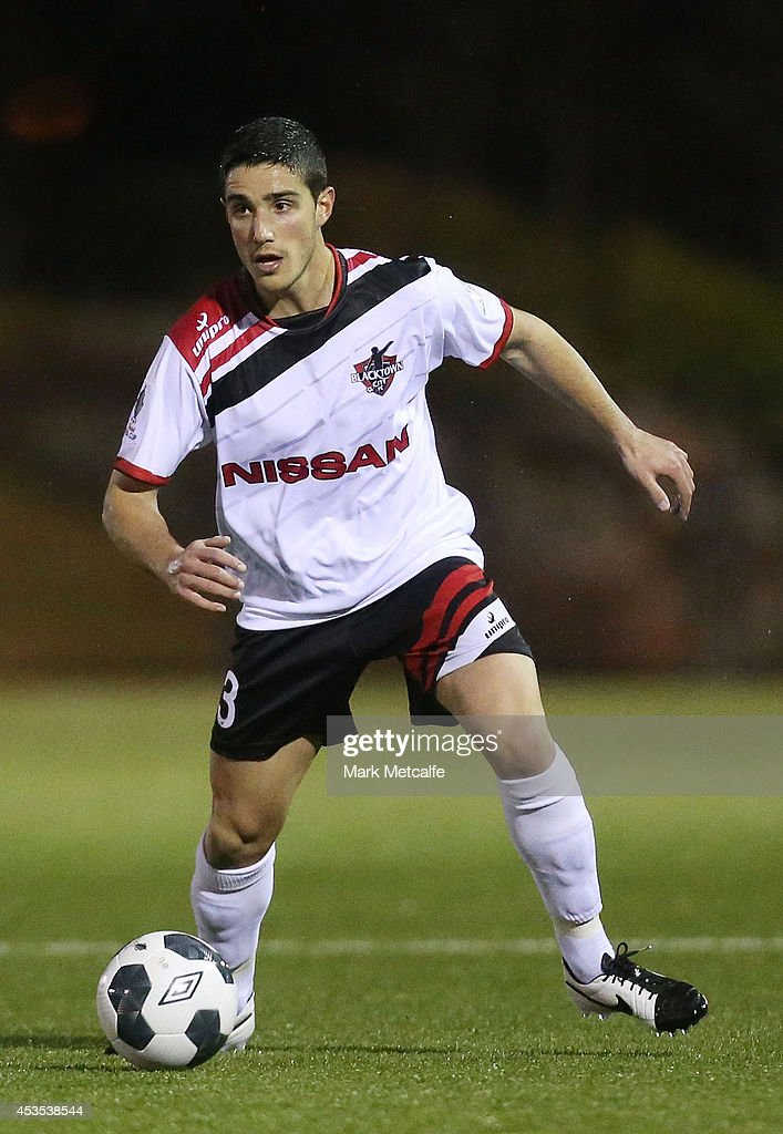 Giorgio Speranza of Blacktown City controls the ball during the FFA Cup match between Blacktown City and Bentleigh Greens at Lilys Football Centre on August 12, 2014 in Blacktown, Australia.
