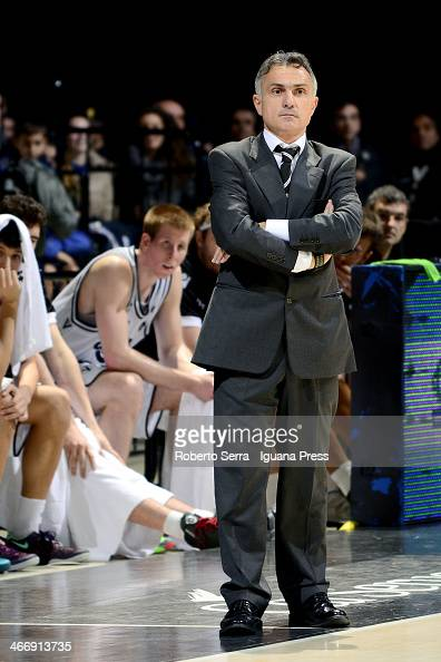 Giorgio Valli head coach of Granarolo looks over during the LegaBasket Serie A1 match between Granarolo Bologna and Montepaschi Siena at Unipol Arena...