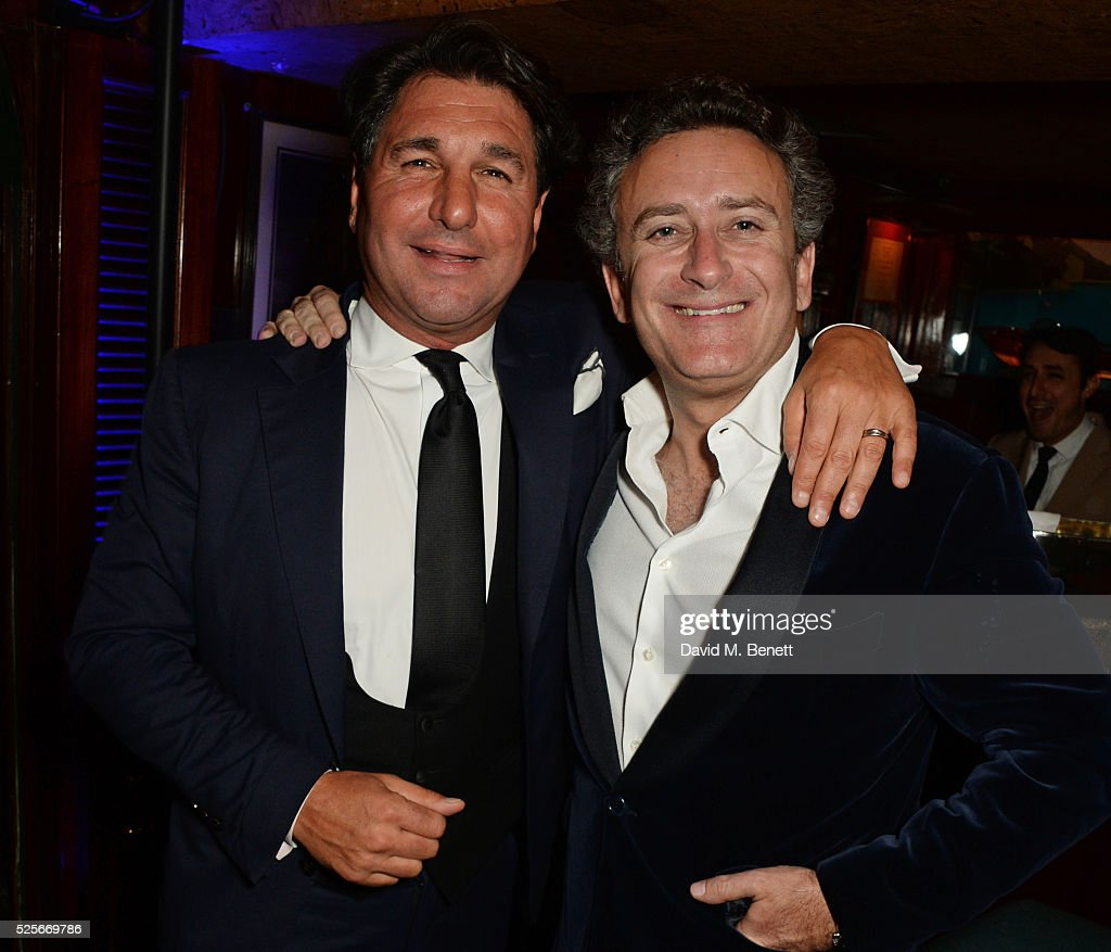 Giorgio Veroni (L) and Alejandro Agag attend a private dinner hosted by Fawaz Gruosi, founder of de Grisogono, at Annabels on April 28, 2016 in London, England.