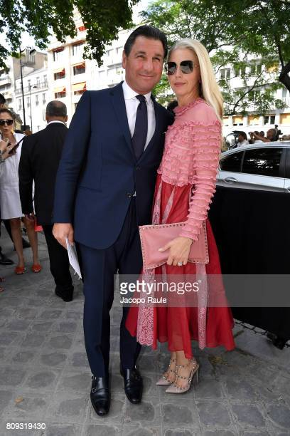 Giorgio Veroni and Tamara Beckwith are seen arriving at Valentino fashion show during the Paris Fashion Week Haute Couture Fall/Winter 20172018 on...