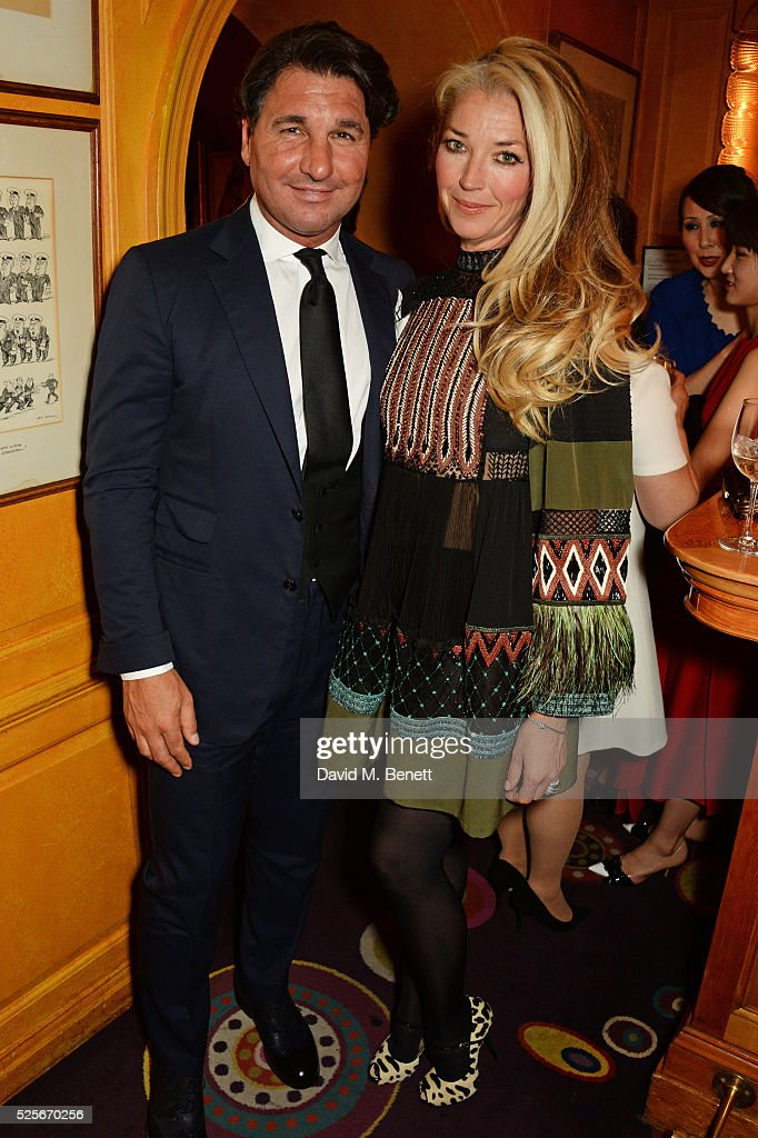 Giorgio Veroni (L) and Tamara Beckwith attend a private dinner hosted by Fawaz Gruosi, founder of de Grisogono, at Annabels on April 28, 2016 in London, England.