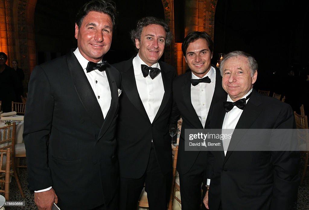 Giorgio Veroni FIA Formula E CEO Alejandro Agag Nelson Piquet Jr and Jean Todt attend the 2015 FIA Formula E Visa London ePrix Gala Dinner at the...