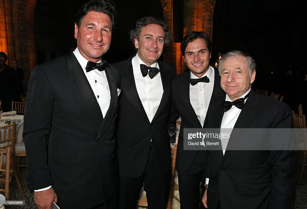 Giorgio Veroni, FIA Formula E CEO Alejandro Agag, Nelson Piquet Jr and Jean Todt attend the 2015 FIA Formula E Visa London ePrix Gala Dinner at the Natural History Museum on June 28, 2015 in London, England.