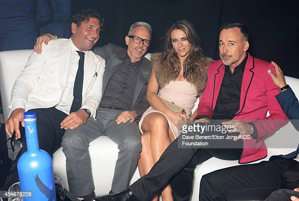APPLIES Giorgio Veroni Patrick Cox Elizabeth Hurley and David Furnish attend La Nuit Des Etoiles night club at the Woodside End of Summer party to...