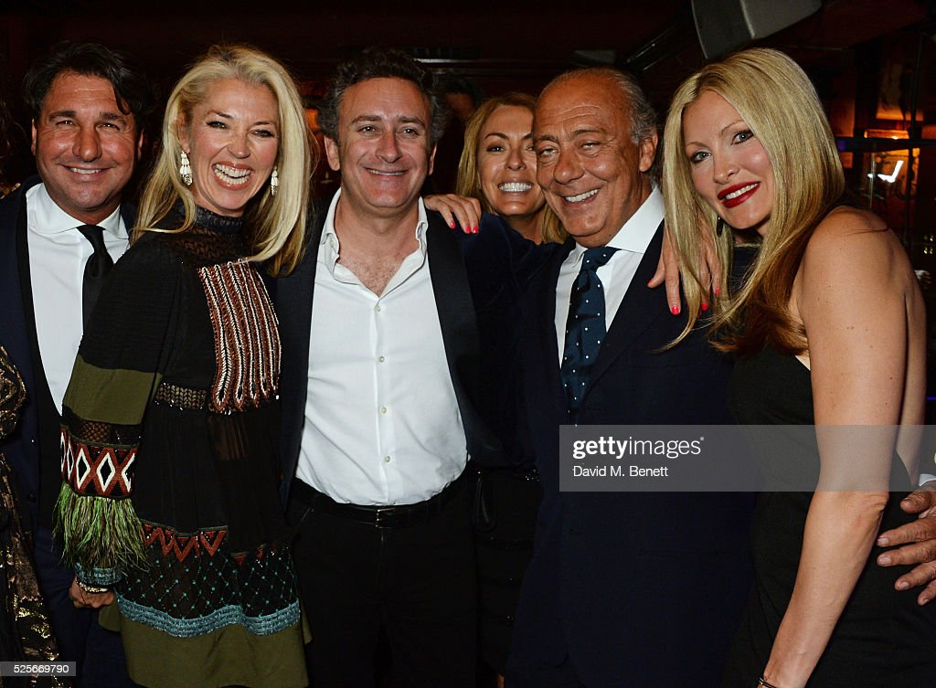 Giorgio Veroni, Tamara Beckwith, Alejandro Agag, Grainne Stevenson, Fawaz Gruosi and Caprice Bourret attend a private dinner hosted by Fawaz Gruosi, founder of de Grisogono, at Annabels on April 28, 2016 in London, England.