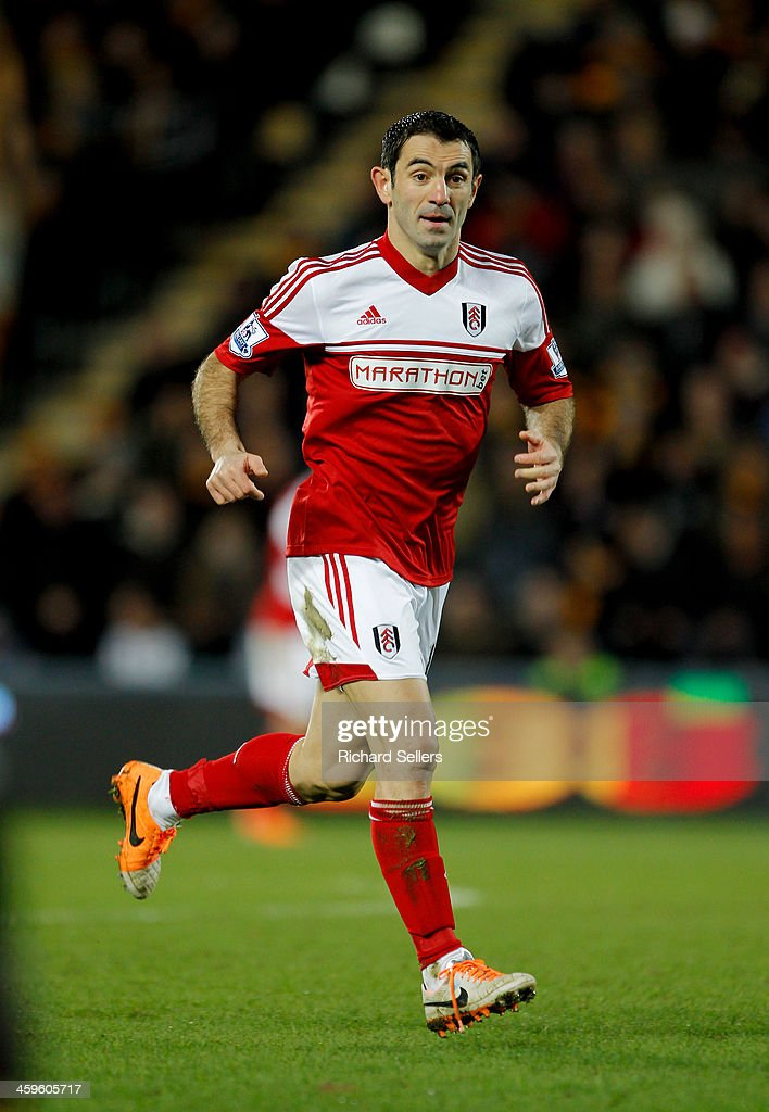 Giorgios Karagounis of Fulham in action during the Barclays Premier League match between Hull City and Fulham at KC stadium on December 28, 2013 in Hull, England.