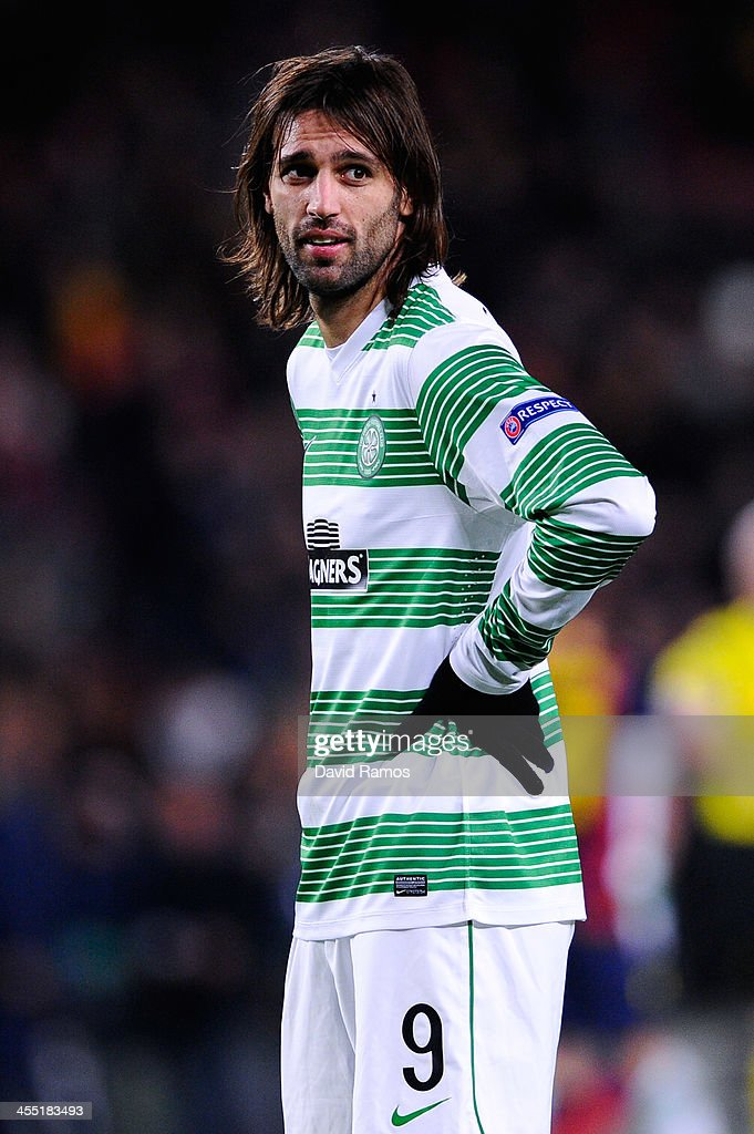 Giorgios Samaras of Celtic FC looks on at the end of the Champions League Group H match between FC Barcelona and Celtic FC at Camp Nou on December 11, 2013 in Barcelona, Spain.
