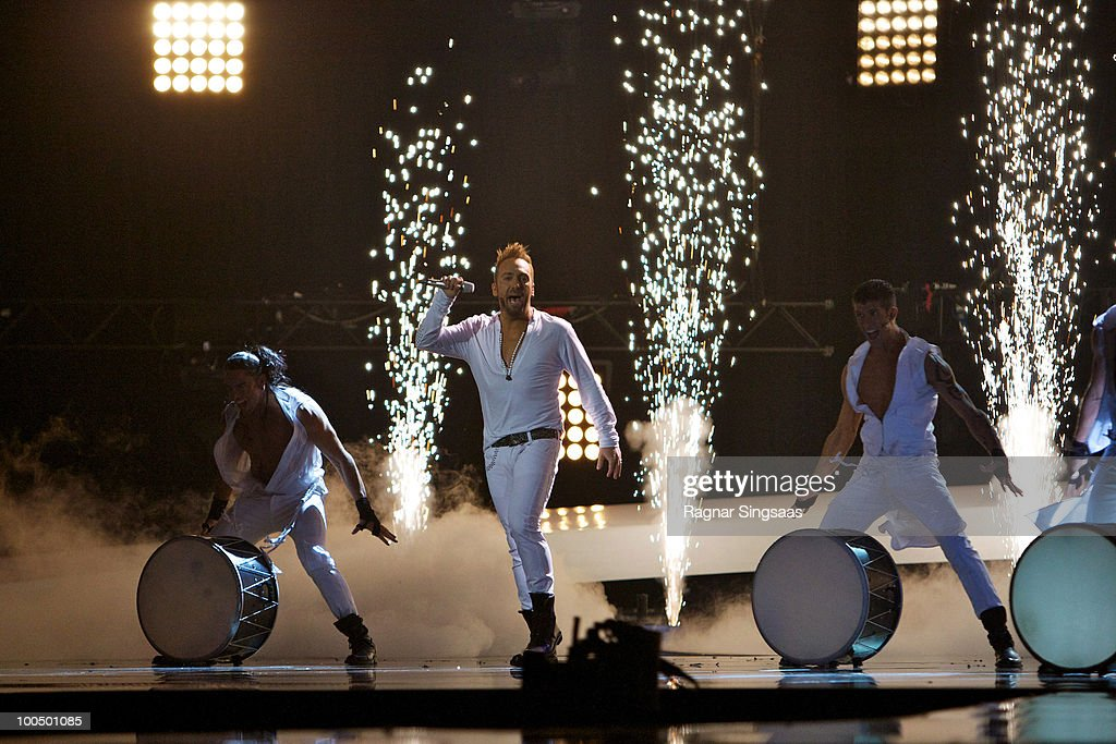 Giorgos Alkaios and Friends of Greece perform during the dress rehearsal before the first semi final at the Telenor Arena on May 24, 2010 in Oslo, Norway. In all, 39 countries will take part in the 55th annual Eurovision Song Contest. Semi-finals are scheduled to take place on May 25-27, with the final being held on May 29, 2010. on May 24, 2010 in Oslo, Norway.