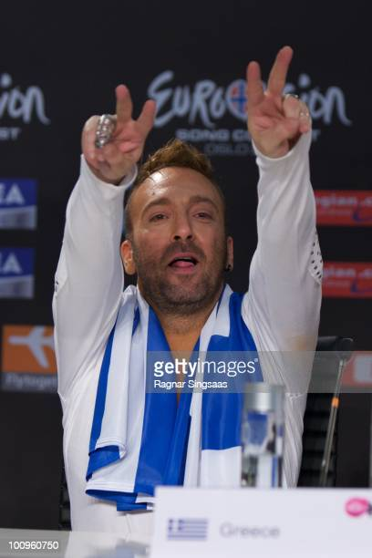 Giorgos Alkaios of Greece s during a press conference after the first semi final at the Telenor Arena on May 25 2010 in Oslo Norway In all 39...