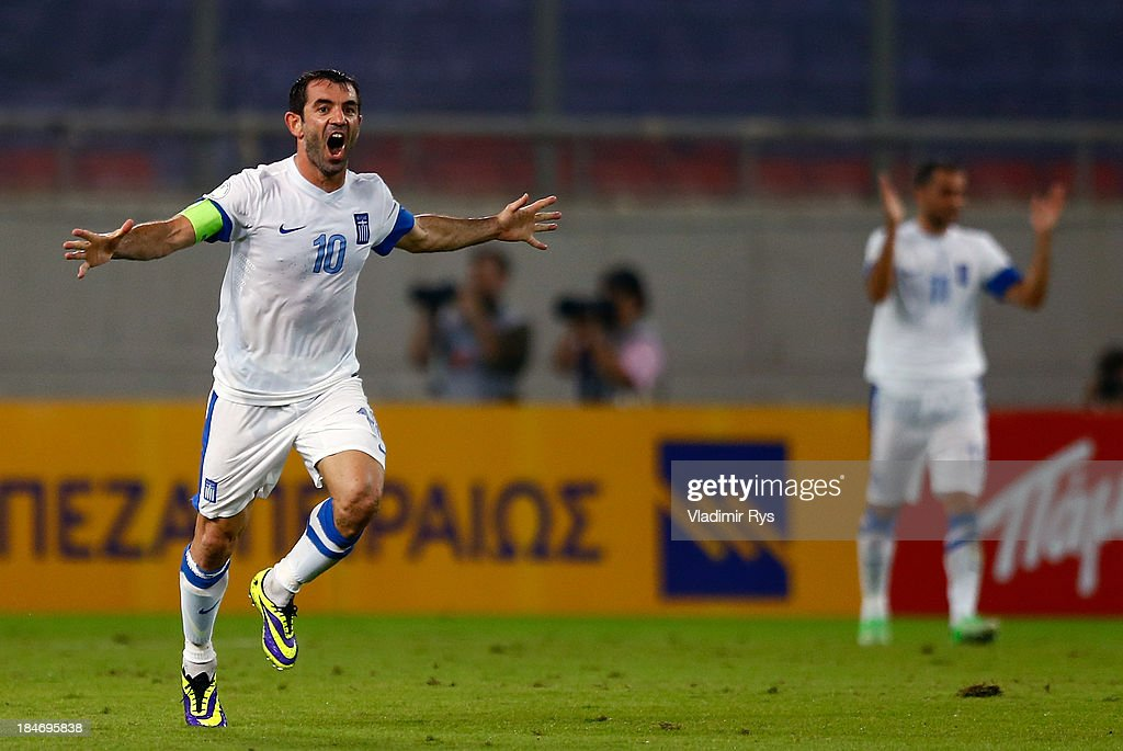 Giorgos Karagounis of Greece celebrates after scoring his team's second goal during the group G FIFA 2014 World Cup Qualifier match between Greece and Liechtenstein at Karaiskakis Stadium on October 15, 2013 in Athens, Greece.
