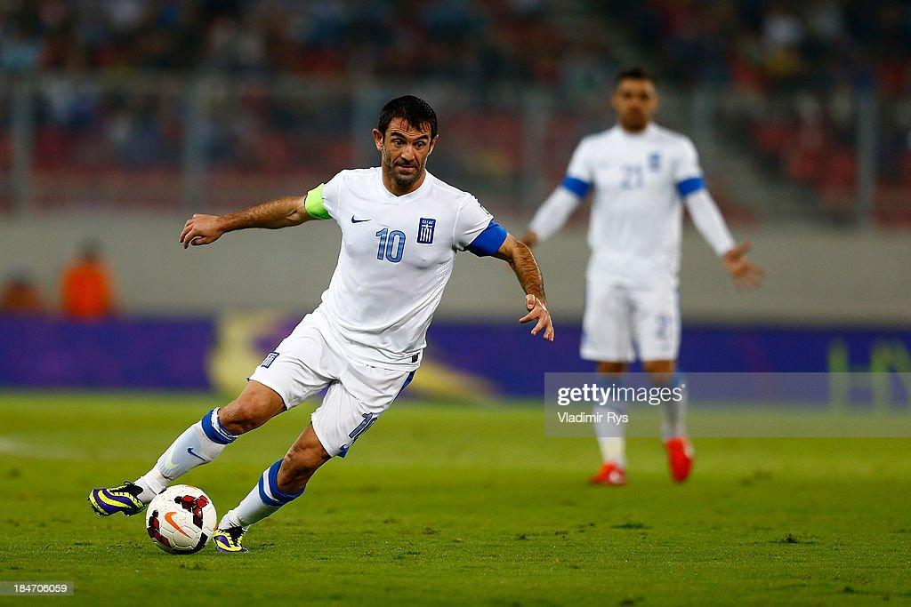 Giorgos Karagounis of Greece in action during the group G FIFA 2014 World Cup Qualifier match between Greece and Liechtenstein at Karaiskakis Stadium on October 15, 2013 in Athens, Greece.