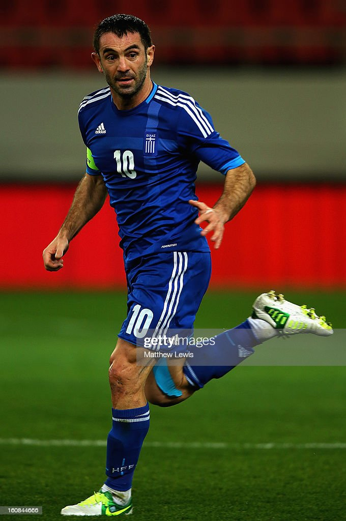 <a gi-track='captionPersonalityLinkClicked' href=/galleries/search?phrase=Giorgos+Karagounis&family=editorial&specificpeople=240229 ng-click='$event.stopPropagation()'>Giorgos Karagounis</a> of Greece in action during the International Friendly match between Greece and Switzerland at Karaiskakis Stadium on February 6, 2013 in Athens, Greece.