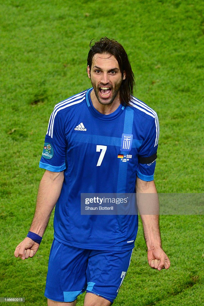 Giorgos Samaras of Greece celebrates scoring their first goal during the UEFA EURO 2012 quarter final match between Germany and Greece at The Municipal Stadium on June 22, 2012 in Gdansk, Poland.