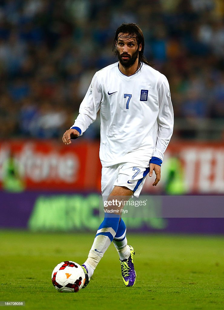 Giorgos Samaras of Greece controls the ball during the group G FIFA 2014 World Cup Qualifier match between Greece and Liechtenstein at Karaiskakis Stadium on October 15, 2013 in Athens, Greece.