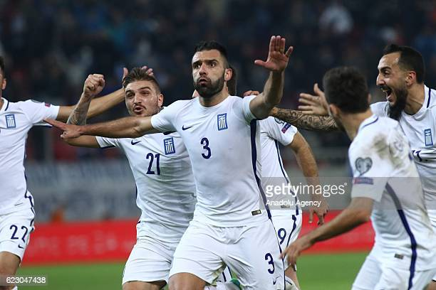 Giorgos Tzavelas of Greece celebrates after scoring a goal during the 2018 World Cup qualifying Group H football match between Greece and Bosnia and...