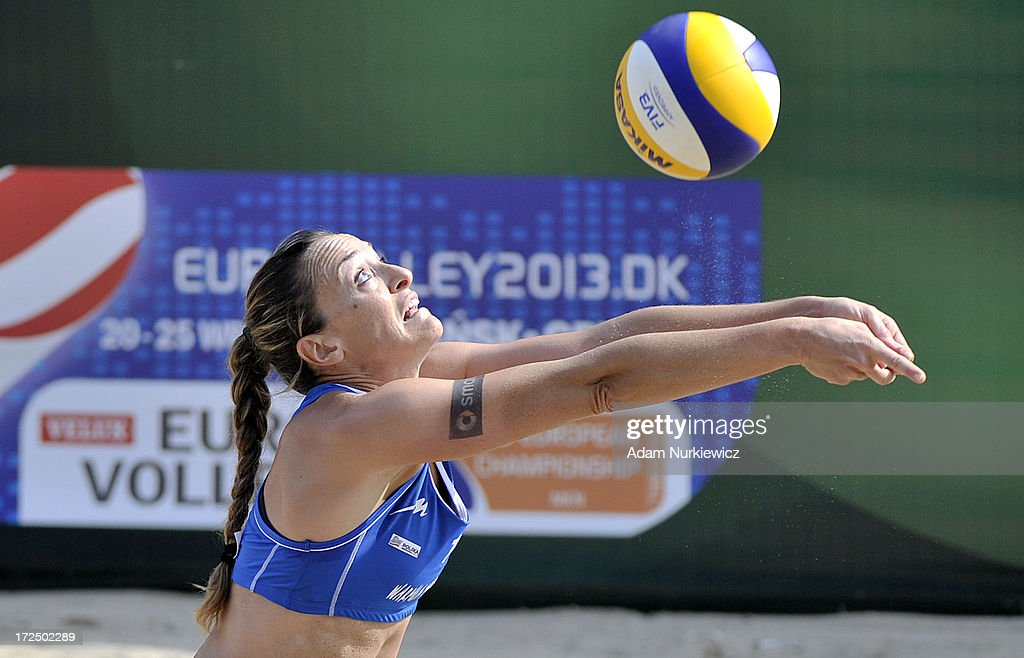 Gioria Daniela from Italy passes the ball during Day 2 of the FIVB World Championships on July 2, 2013 in Stare Jablonki, Poland.