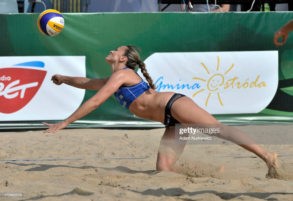 Gioria Daniela from Italy saves the ball during Day 2 of the FIVB World Championships on July 2, 2013 in Stare Jablonki, Poland.