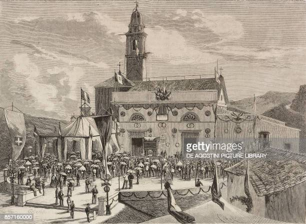 Giosue Carducci reading his speech in the square of Arqua in front of the house of Francesco Petrarca for the centenary of the poet Italy from a...