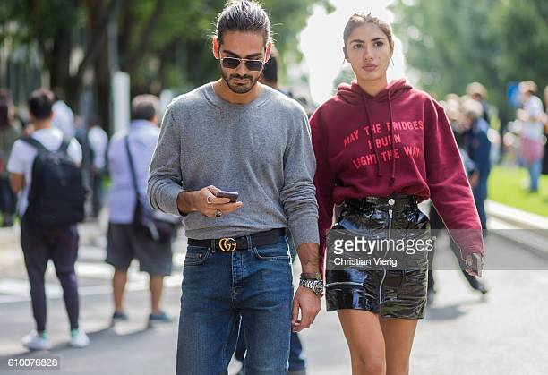 Giotto Calendoli and Patricia Manfield outside Armani during Milan Fashion Week Spring/Summer 2017 on September 23 2016 in Milan Italy