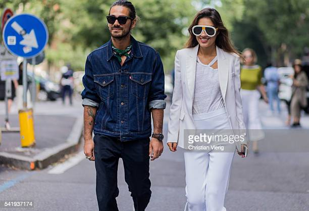 Giotto Calendoli and Patricia Manfield outside Armani during the Milan Men's Fashion Week Spring/Summer 2017 on June 21 2016 in Milan Italy