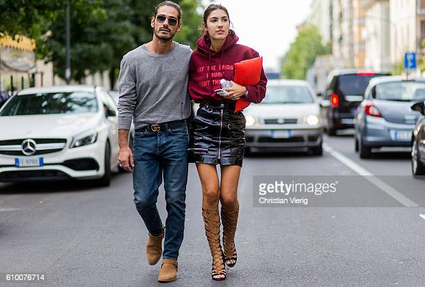 Giotto Calendoli and Patricia Manfield outside during Milan Fashion Week Spring/Summer 2017 on September 23 2016 in Milan Italy