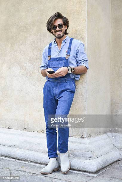 Giotto Calendoli poses wearing a Ralph Laurent shirt poses on June 21 2015 in Milan Italy