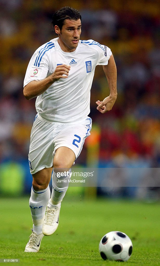 Giourkas Seitaridis of Greece runs with the ball during the UEFA EURO 2008 Group D match between Greece and Sweden at Stadion WalsSiezenheim on June...