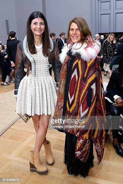 Giovana Battaglia and Anna Dello Russo attend the Chloe show as part of the Paris Fashion Week Womenswear Fall/Winter 2016/2017 Held at Grand Palais...