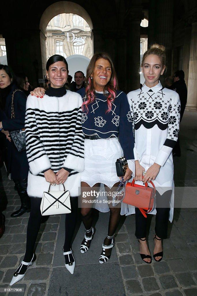 Giovana Battaglia Journalist Anna Dello Russo and Sabine Getty attend the Christian Dior show as part of the Paris Fashion Week Womenswear...