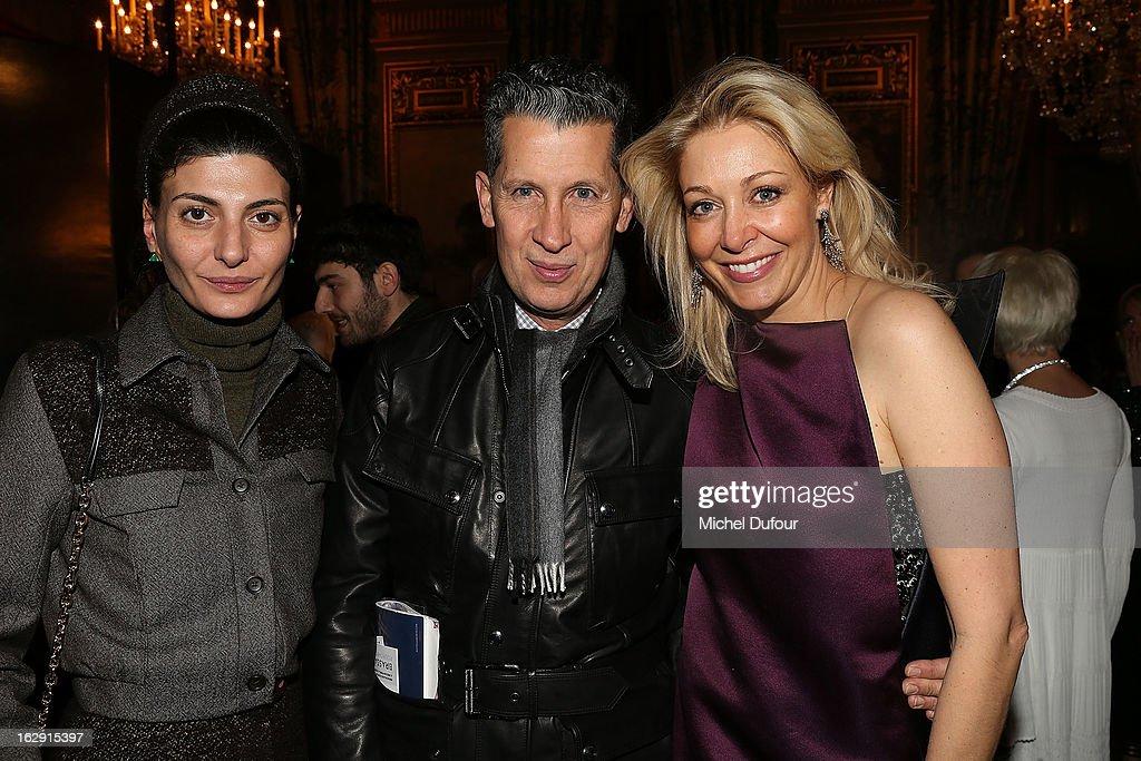 <Giovana Battaglia, Nadja Swarovski, Stefano Tonchi> attend Swarovski 'Paris Haute Couture' Exhibition as part of Paris Fashion Week on February 28, 2013 in Paris, France.