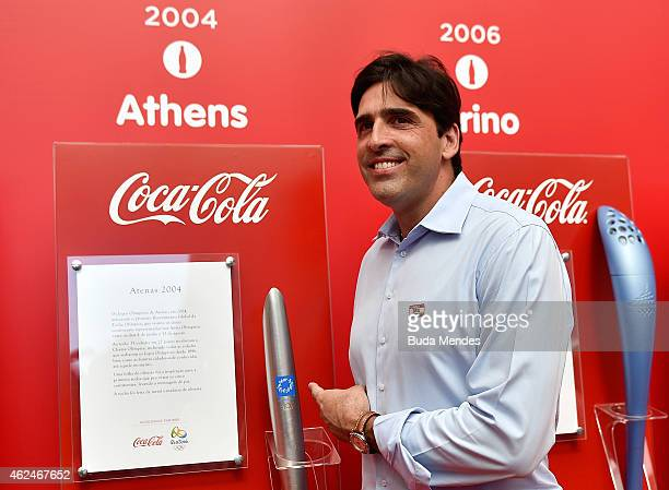Giovane Gavio former Brazilian Olympic gold medalist in volleyball at the Barcelona 1992 and Athens 2004 Olympic Games poses in front of an...