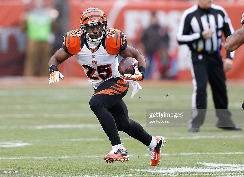 Giovani Bernard of the Cincinnati Bengals carries the ball during the first quarter against the Cleveland Browns at FirstEnergy Stadium on December...