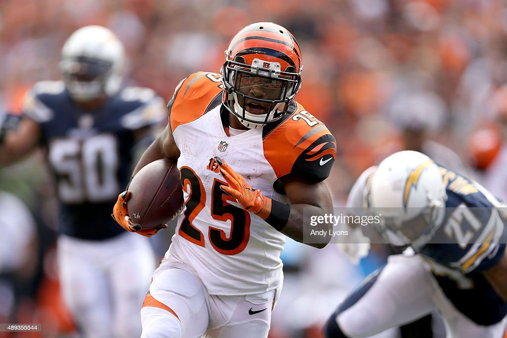 Giovani Bernard of the Cincinnati Bengals carries the ball during the fourth quarter of the game against the San Diego Chargers at Paul Brown Stadium...