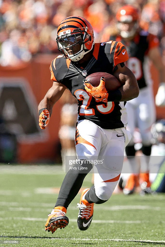 Giovani Bernard of the Cincinnati Bengals runs with the ball during the second quarter of the game against the Seattle Seahawks at Paul Brown Stadium...