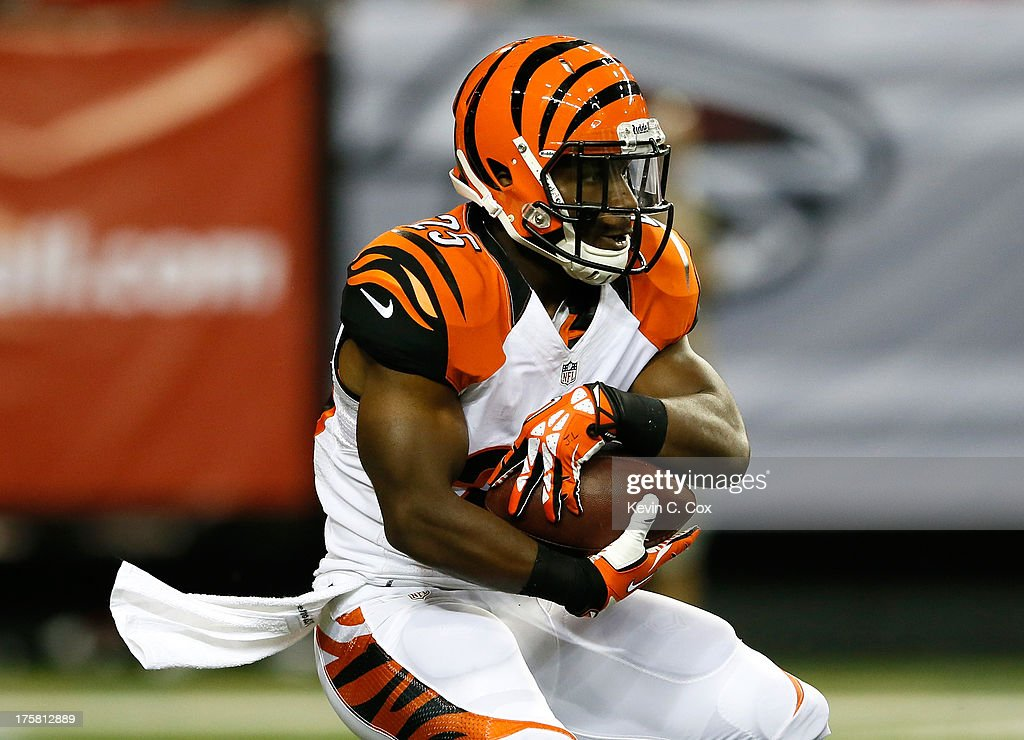 <a gi-track='captionPersonalityLinkClicked' href=/galleries/search?phrase=Giovani+Bernard&family=editorial&specificpeople=8162745 ng-click='$event.stopPropagation()'>Giovani Bernard</a> #25 of the Cincinnati Bengals rushes against the Atlanta Falcons at Georgia Dome on August 8, 2013 in Atlanta, Georgia.