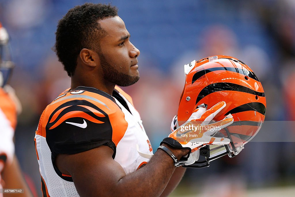 Giovani Bernard of the Cincinnati Bengals warms up prior to the start of the game against the Indianapolis Colts on October 19 2014 at Lucas Oil...