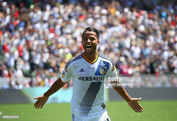 Giovani Dos Santos of Los Angeles Galaxy celebrates his goal against the New York City FC in the second half of their MLS match at StubHub Center on...