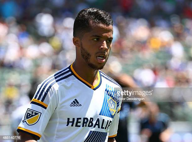 Giovani Dos Santos of Los Angeles Galaxy jogs to the corner to take the corner kick in the second half against the New York City FC during the MLS...
