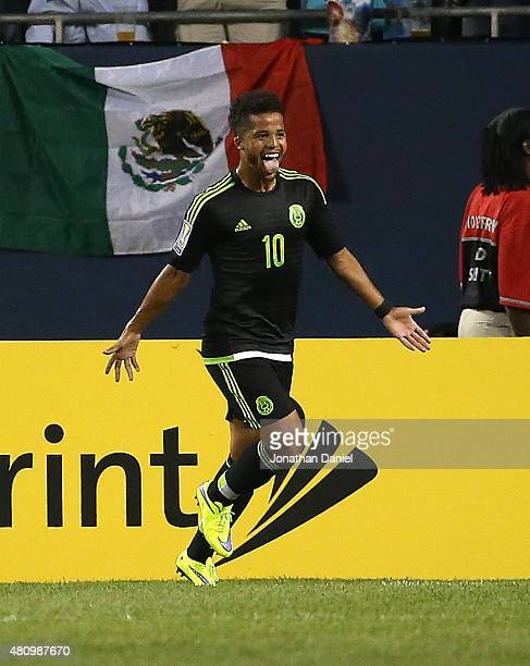 Giovani Dos Santos of Mexico celebrates a during a match in the 2015 CONCACAF Gold Cup against Cuba at Soldier Field on July 9 2015 in Chicago...