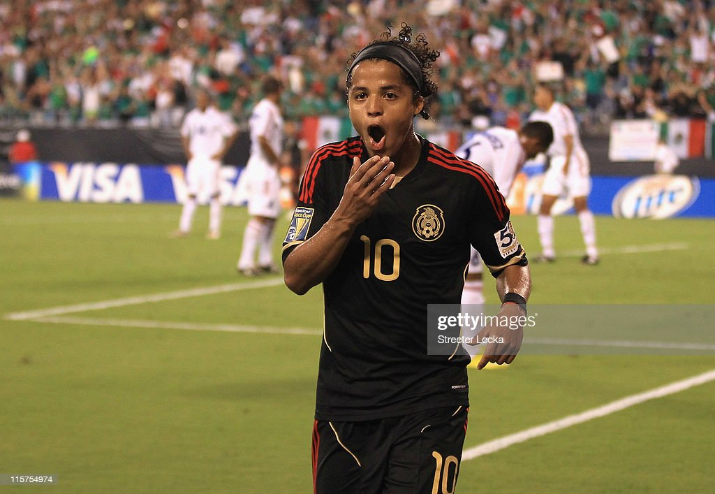 Giovani Dos Santos #10 of Mexico celebrates after scoring a goal against Cuba during their game in the CONCACAF Gold Cup at Bank of America Stadium on June 9, 2011 in Charlotte, North Carolina.
