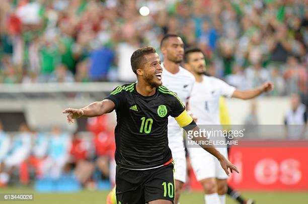 Giovani Dos Santos of Mexico celebrates his goal against New Zeland during the friendly match between the Mexican national team and New Zeland...