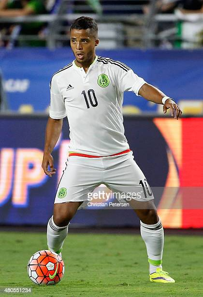 Giovani Dos Santos of Mexico controls the ball during the 2015 CONCACAF Gold Cup group C match against Guatemala at University of Phoenix Stadium on...