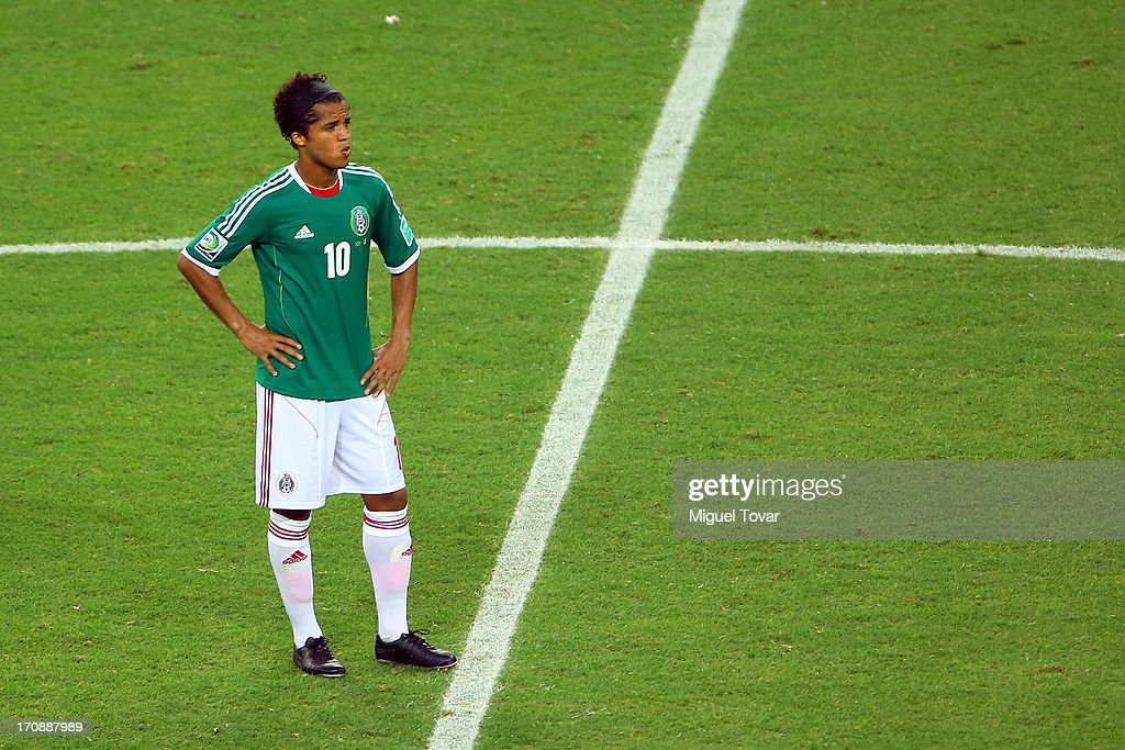 Giovani dos Santos of Mexico looks despondent during the FIFA Confederations Cup Brazil 2013 Group A match between Brazil and Mexico at Castelao on June 19, 2013 in Fortaleza, Brazil.