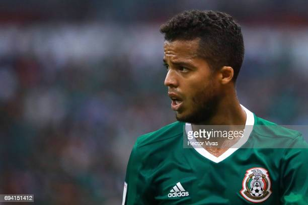 Giovani Dos Santos of Mexico looks on during the match between Mexico and Honduras as part of the FIFA 2018 World Cup Qualifiers at Azteca Stadium on...