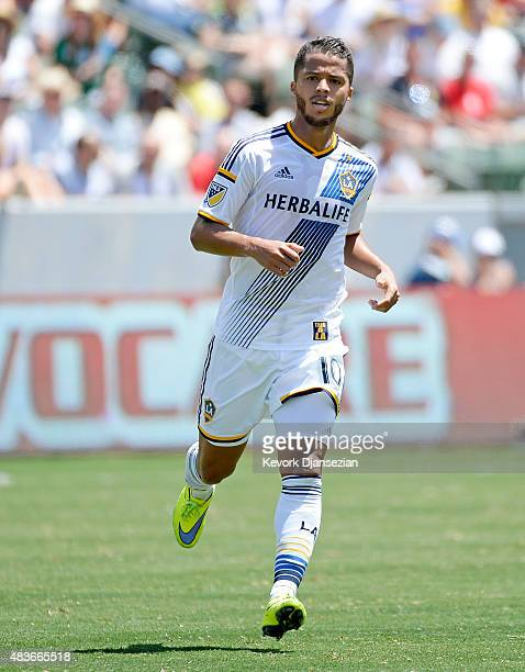 Giovani Dos Santos of the Los Angeles Galaxy makes his MLS debut during the soccer match against Seattle Sounders at StubHub Center on August 9 2015...