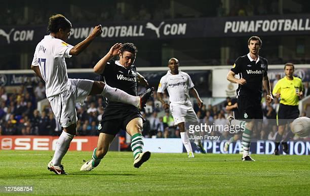 Giovani dos Santos of Tottenham Hotspur scores their third goal with a header during the UEFA Europa League Group A match between Tottenham Hotspur...