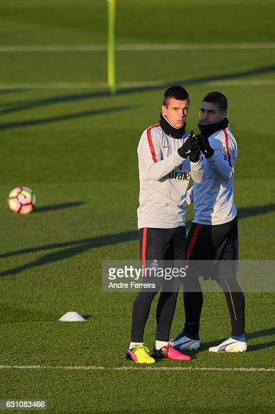Giovani Lo Celso of PSG and Marco Verratti of PSG during the Training Session of Paris Saint Germain at Camp des Loges on January 6 2017 in Saint...
