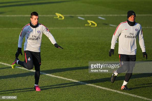 Giovani Lo Celso of PSG and Thiago Silva of PSG during the Training Session of Paris Saint Germain at Camp des Loges on January 6 2017 in Saint...